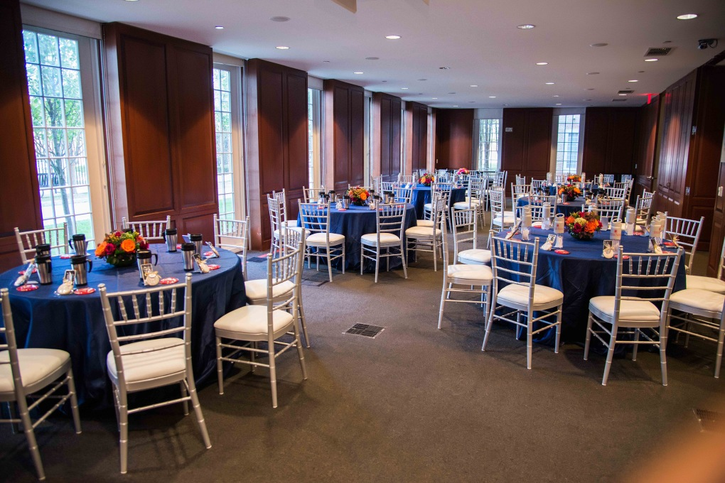 Lunch. Linens sponsored by CV Linens. Florals by Edge Floral Event Design. Swag by Samuel Riggs IV Alumni Center.